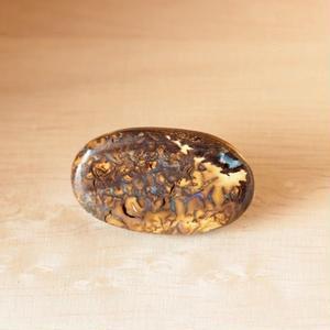 天然ボルダーオパールの帯留め☆原石から磨きました