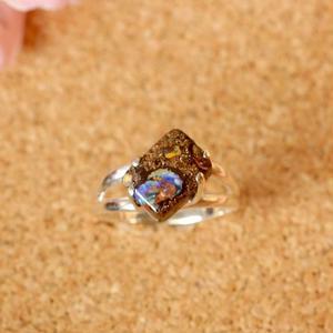 セール!天然ボルダーオパールシルバーリング|12号オーストラリアヤワー産原石から磨いた1点もの
