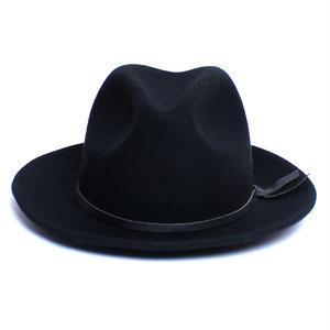 YELLOW108/イエローワンオーエイト【YAD-LFL-BLK】メンズ&レディース Luke Fedora W/ Salvaged Leather Tie-Black ツバ広 フェルトハット