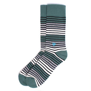 【EA1-MSP-PTS-1S】PACT(パクト メンズ)-MEN'S-Pine Triple Stripe Premium Crew Sock-オーガニックコットン 靴下