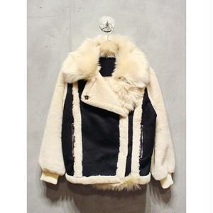 FUR COLLAR FAKE MOUTON JACKET