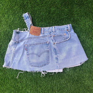 REMAKE ONE SHOULDER  DENIM TOPS