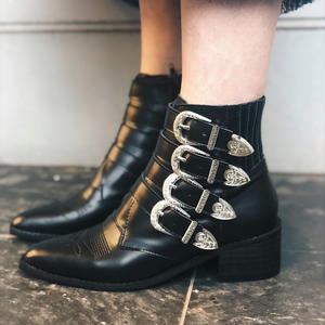SILVER BUCKLE SHORT BOOTS