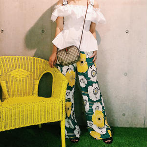 High waist  flower pants