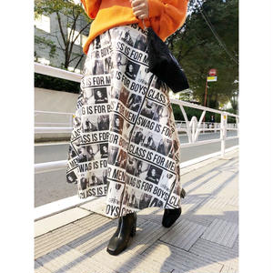 【CUBRUN】FAKE LEATHER PRINT SKIRT
