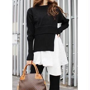 SHIRTS LAYERD ASYMMETORY KNIT