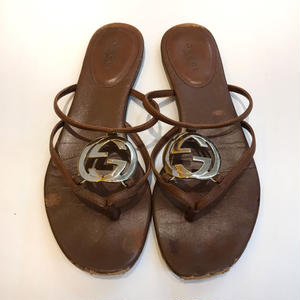 【USED】GUCCI LEATHER PETA SANDALS