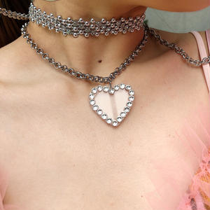 ≪CUBRUN≫HEART CLEAR RHINESTONE NECKLACE