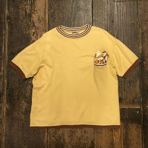 [USED]やさしい Yellow × Brown リンガーTee