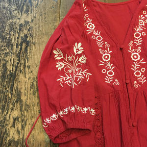 [USED]前開き 刺繍ワンピース