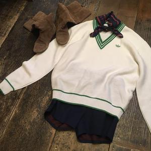 [USED] adidas Green×White Vネックセーター