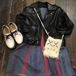 [USED] カラフルストライプのデニムジャンパースカート