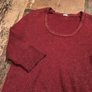 [USED] Wine Red キラキラ半袖 KNIT