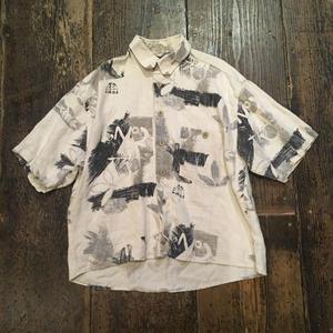 [USED] 渋めモノトーン麻シャツ