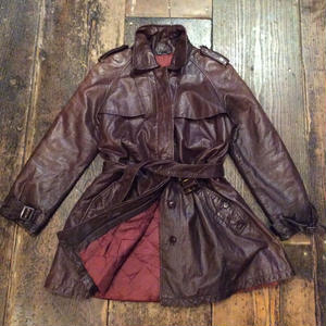 [USED] Real  Leatherトレンチコート