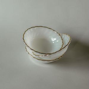 FIREKING ANCHOR HOCKING / Dessert bowl White gold rim 60's