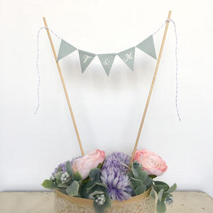 Initial  Cake Bunting *Blue Gray* Long