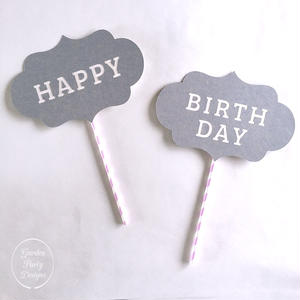 HAPPY BIRTHDAY Photo Props * Blue Gray