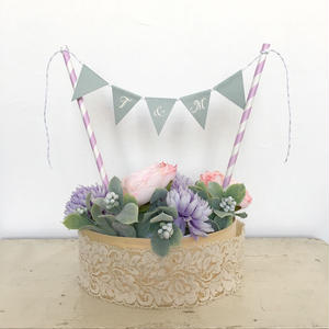 Initial  Cake Bunting * Blue Gray * S