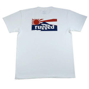 "RUGGED ""RISING SUN"" tee(White×Navy)"
