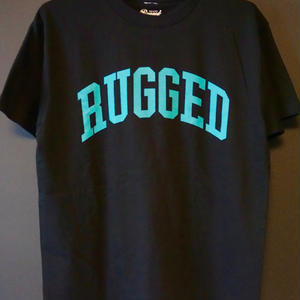 "RUGGED ""ARCH logo"" tee(Black×Aqua)"