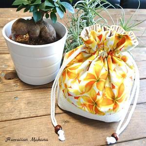 ジュートコラボ巾着(プルメリア オレンジ)