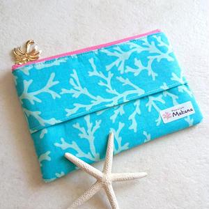 ファスナー付きティッシュポーチ (珊瑚 ブルー)
