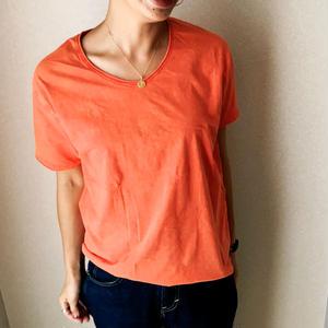 ヴィンテージウォッシュ Tシャツ  - Orange.