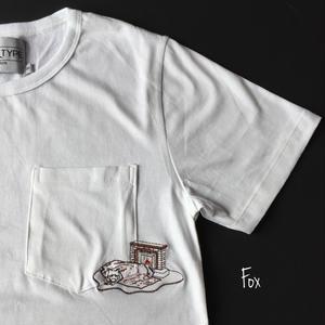 きつね刺繍Tシャツ Fox.
