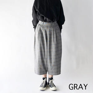 T/R CHECKERED WIDE EGG CROPPED PANTS (グレンチェック柄ワイドエッグ クロップドパンツ) A21807