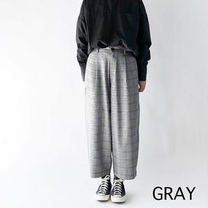 T/R CHECKERED WIDE EGG LONG PANTS (グレンチェック柄ワイドエッグ ロングパンツ) A21808