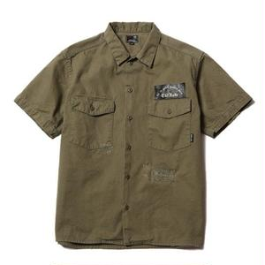 CUT RATE S/S HERRINGBONE BAKER SHIRT OLIVE CR-16ST024