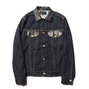CUT RATE LEATHER COMBINATION DENIM JACKET INDIGO BLUE CR-17AW010