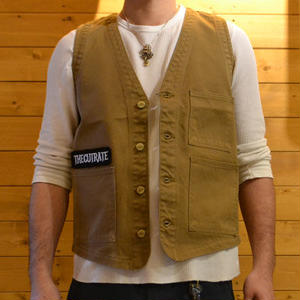 TWILL COTTON VEST BEIGE