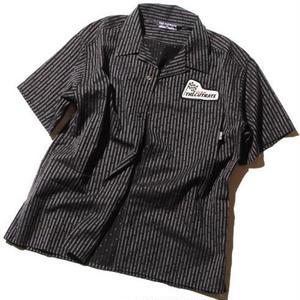 CUT RATE S/S STRIPE SHIRT BLACK CR-16S043