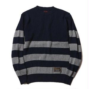 CUTRATE CREW NECK BORDER KNIT SWEATER NAVY&GRAY CR-16ST069