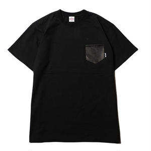 CUTRATE  LOCAL CROSS LEATHER POKET T-SHIRT BLACK CR-18SS060