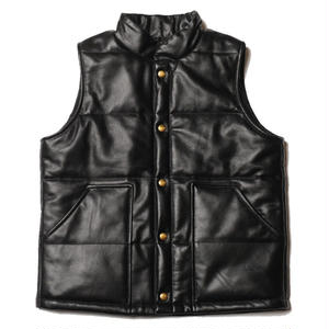 CUT RATE LEATHER VEST BLACK CR-17AW034