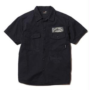 CUT RATE S/S HERRINGBONE BAKER SHIRT NAVY CR-16ST024