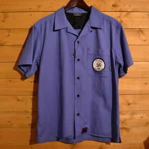 S/S USED WASH OPEN COLLER SHIRT PURPLE