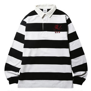 BORN X RAISED RUGBY SHIRT BLACK&WHITE #38102