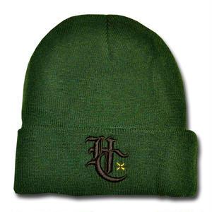 HARDEE HC+ LOGO KNIT CAP GREEN&BLACK