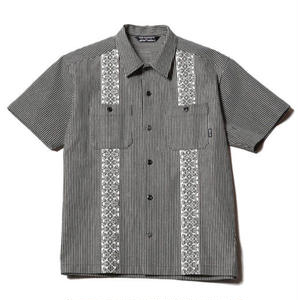 CUT RATE  S/S HICKORY GUAYABERA SHIRT BLACK CR-17SS042