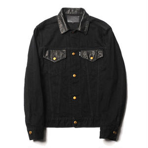 CUT RATE LEATHER COMBINATION DENIM JACKET BLACK CR-17AW010