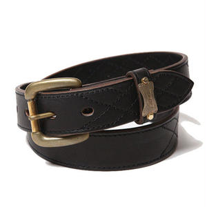 CUT RATE  QUILT STITCH LEATHER BELT BLACK CR-17SS116