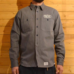 KING FUCT HERRINGBONE WORK SHIRT GRAY[#3306]
