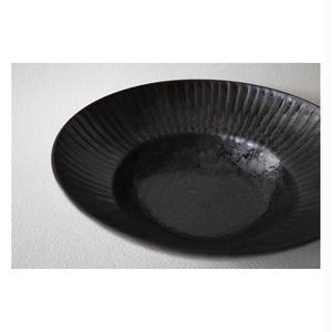 宮腰徳二 九谷焼 しのぎ黒釉 丸中鉢