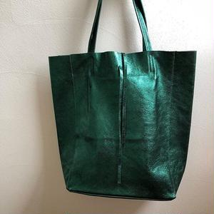 Italian Leather shiny metallic tote bag      レザーメタリック シャイニートートバッグ