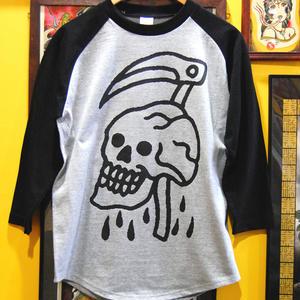 ILL-REAPER raglan logo 3/4 sleeve (grey/black)