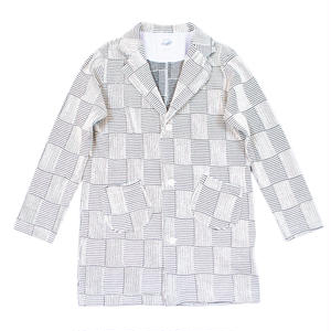 JACQUARD PATCHWORK COAT -WHITE-